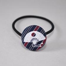 髪ゴム 扇 紺/赤