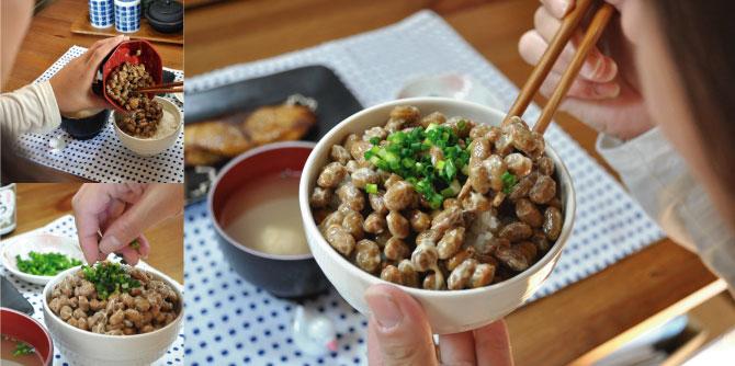 納豆をたべる